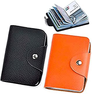 (Black Orange) - Soft Leather Credit Card Holder Protector Wallet Bag For Women Men - 24 Card Slots 2 Pack (Black & Orange)