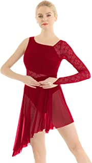 Women's Adult Lace Single Long Sleeve Lyrical Latin Jazz Dance Costume Dress Asymmetric Mesh Skirted Leotard