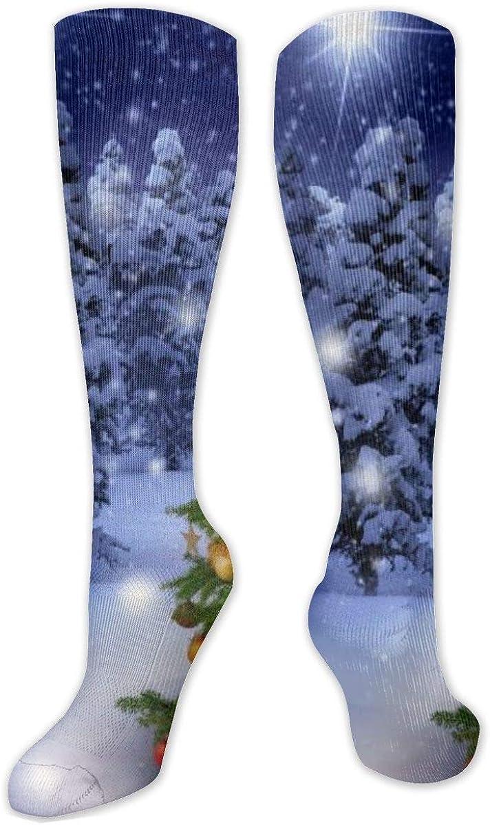 Winter Christmas Tree Knee High Socks Leg Warmer Dresses Long Boot Stockings For Womens Cosplay Daily Wear