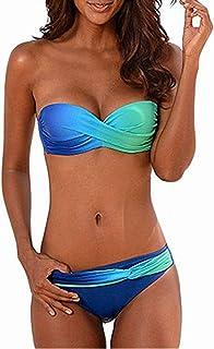 2cbbd3fa4f KISSLACE Femme Maillot de Bain Élégant Amincissant Grande Taille Tankini  Push Up 2 Pièces Slim Bikini