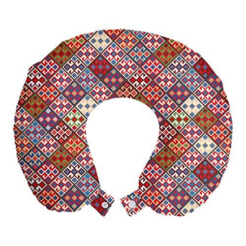 ABAKUHAUS Vistoso Cojín de Viaje para Soporte de Cuello, Alfombra nómada Tribal, de Espuma con Memoria Respirable y Cómoda, 30x30 cm, Multicolor