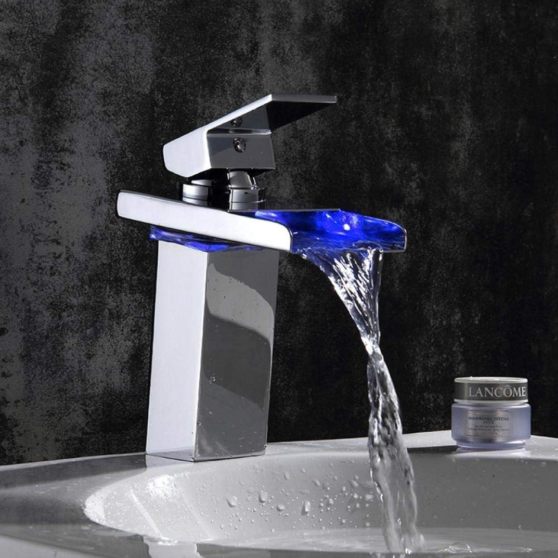 Lddpl Wasserhahn Bad Wasserhahn mit LED-Licht Chrom poliert Led Waschbecken Wasserhahn Bad Deck montiert Becken Waschbecken Mischbatterie LED wird sich ndern