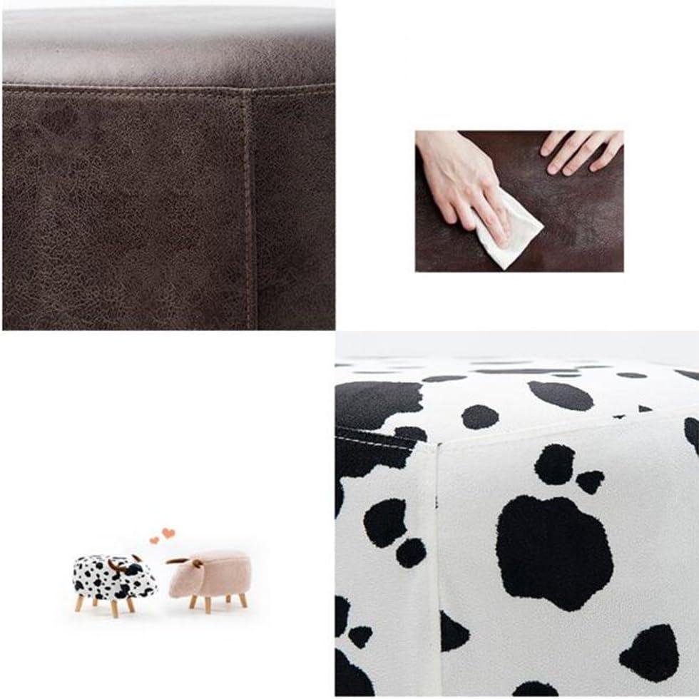 FEI Confortable Canapé Tabouret Enfants Vaches Tabouret PU Bois Pour Étudiant, Garçon Fille Bébé W63.5 * D33 * H41cm Solide et durable (Couleur : A) B