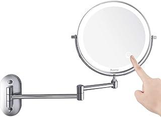 Auxmir Miroir Maquillage Mural Miroir Mural Double Face Miroir Grossissant Lumineux Mural x10, Miroir Cosmétique Extension...