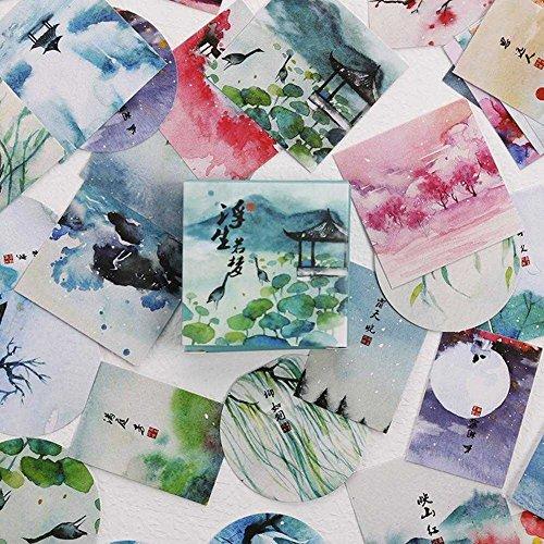 MUGBGGYUE Aufkleber Packung (40 Stück) Dekoration Papier Decals Chinesische traditionelle Vintage Kunst DIY Schreibwaren Aufkleber für Skate, Moto, Gepäck, Wasserflaschen, Gitarre, Laptop