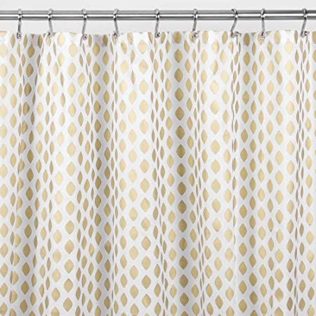 Amazon Com Mdesign Decorative Diamond Print Easy Care Fabric Shower Curtain With Reinforced Buttonholes For Bathroom Showers Stalls And Bathtubs Machine Washable 72 X 72 2 Pack Gold White Home Kitchen