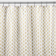 """mDesign Decorative Diamond Print - Easy Care Fabric Shower Curtain with Reinforced Buttonholes, for Bathroom Showers, Stalls and Bathtubs, Machine Washable - 72"""" x 72"""" - Gold/White"""