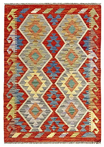 HAMID Alfombra Kilim Herat - 100% Lana Tejida a Mano - Alfombra étnica de salón, Dormitorio, Comedor (111x79cm)