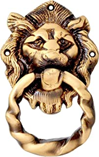 "eSplanade - 5.5"" Lion Mouth with Moulded Ring Brass Door Knocker 