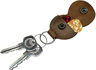 Rustic Guitar Pick Holder Leather Key Chain Handmade by Hide & Drink :: Bourbon Brown