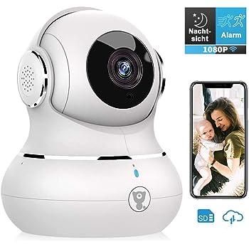 Überwachungskamera, Littlelf WLAN IP Kamera 1080P HD WiFi Kamera mit 360°Schwenkbare Baby Monitor, Zwei-Wege-Audio, Bewegungserkennung, Nachtsicht mit Alexa, Weiss