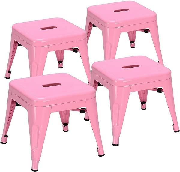 COSTWAY Kids Metal Stools Steel Barstools Vintage Antique Style Counter Bar Stool Pink Set Of 4