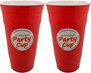 Reusable Red Plastic Party Cups For Adults Kids– Red Plastic Cups Party BBQ Camping Dinner House Deck Party | 2-Pack 32 Oz Insulated Cup | Turn Up Comfy Cups | Sweat Proof Dishwasher Safe Cups