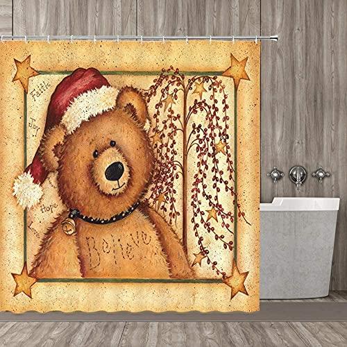 BROOE Winnie The Pooh Duschvorhang, Gelber Hintergr& Niedlicher Bär Badezimmer Duschvorhang Roter Hut Bär Duschvorhang Dekoration Pflanze Baum Bär Duschvorhang Set verblasst Nicht 70X70