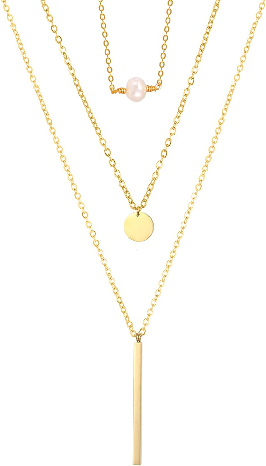 Layered Necklace 18K Gold Plated Pendant Adjustable Layering Necklaces For Women Dainty Chain