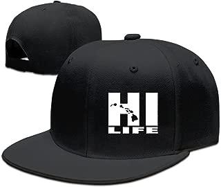 POOKOOL Adjustable Baseball Caps Flat Brim Hat Unisex/Men/Women - Hawaii Hi Life Beautiful Art