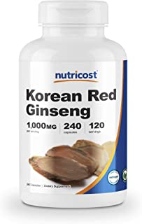 Nutricost Korean Ginseng 500mg, 240 Capsules - 1000mg Extra Strength Serving Size - Korean Red Ginseng - Gluten Free & Non...