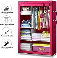 Electz Falt Material Cabinets Non-Woven Fabric, Wardrobe Closet Folding Cabinet with Zipper Fabric Wardrobe Wardrobe with Clothes Rail,Pink