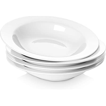 Argon Tableware White Rimmed Soup Pasta Cereal Bowls 23cm Set Of 6 Amazon Co Uk Kitchen Home