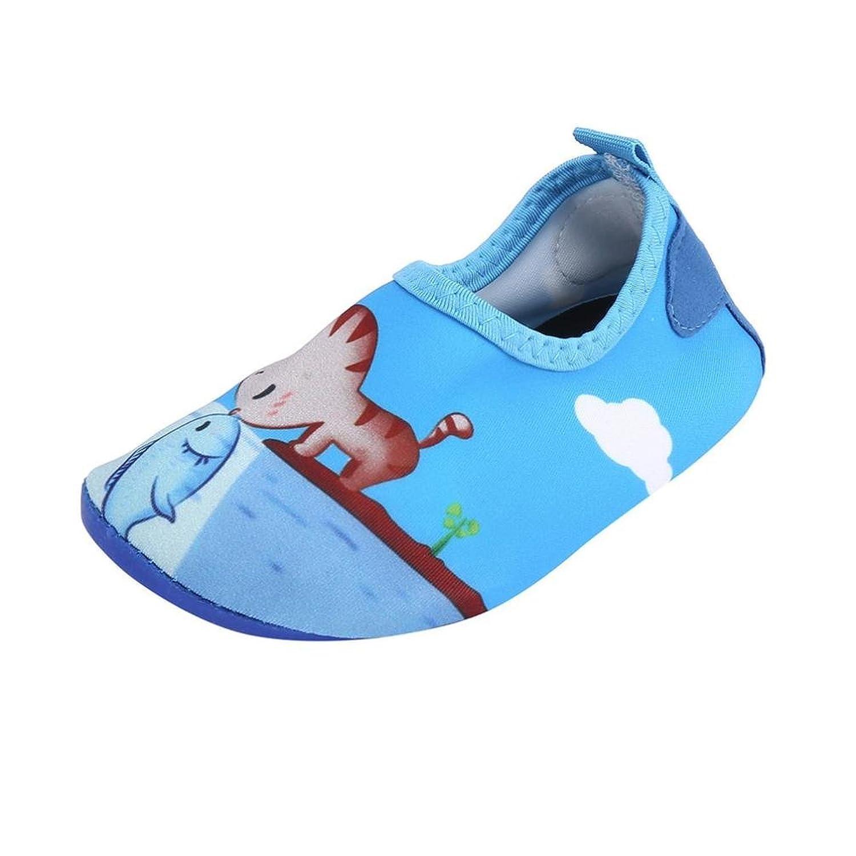 Kukiwaキッズ ウォーターシューズ  猫と魚プリント ガールズ マリンシューズ  子供 水陸両用 ビーチサンダル ビーチ靴 赤ちゃん 靴  水遊び 速乾 室内 超軽量 ジュニア