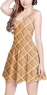 Icecream Waffle Cone Sleeveless Dress XS-3XL Skater Stretch Flare Dress