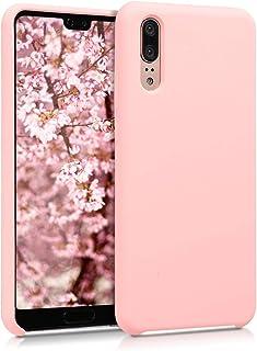kwmobile telefoonhoesje compatibel met Huawei P20 - Hoesje met siliconen coating - Smartphone case in mat roségoud