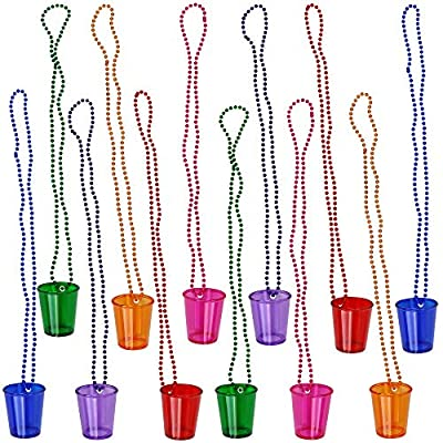 Iconikal Shot Glass on Beaded Necklace, 12-Pack (Assorted)
