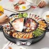 4YANG Hot Pot Barbecue Pentola, Multifunzionale BBQ Grill e Hot Pot 2000W Pentola Calda Teppanyaki per uso Domestico Griglia da Fonduta Senza Fumo 2200W Pot Fondue Chinoise per 2-8 Persone (nero)