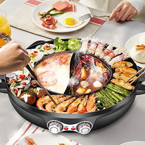 4YANG Elektrogrill und Hot Pot,Split Design mit Grillplatte- Doppelte Temperaturregelung 2 in1 Multifunktion Doppelte Trennung Korean Barbecue Hot Pot im Innenbereich für einfache Reinigung(42CM)