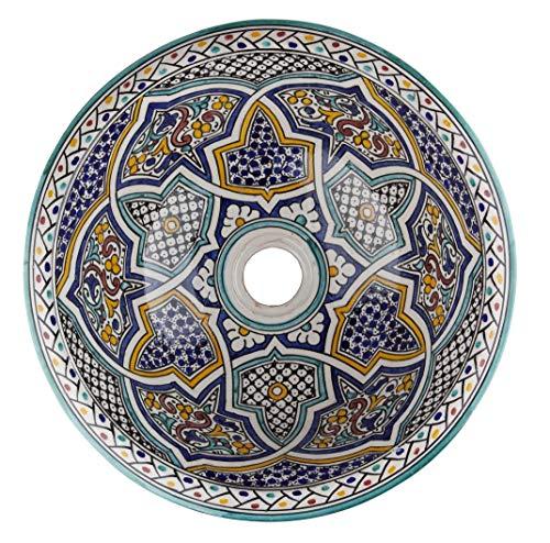Mikhat - handbeschilderde Marokkaanse wastafel van keramiek - keramiek | inbouwwastafel 40 x 16 cm | ronde wastafel voor badkamer toiletten gastentoilet