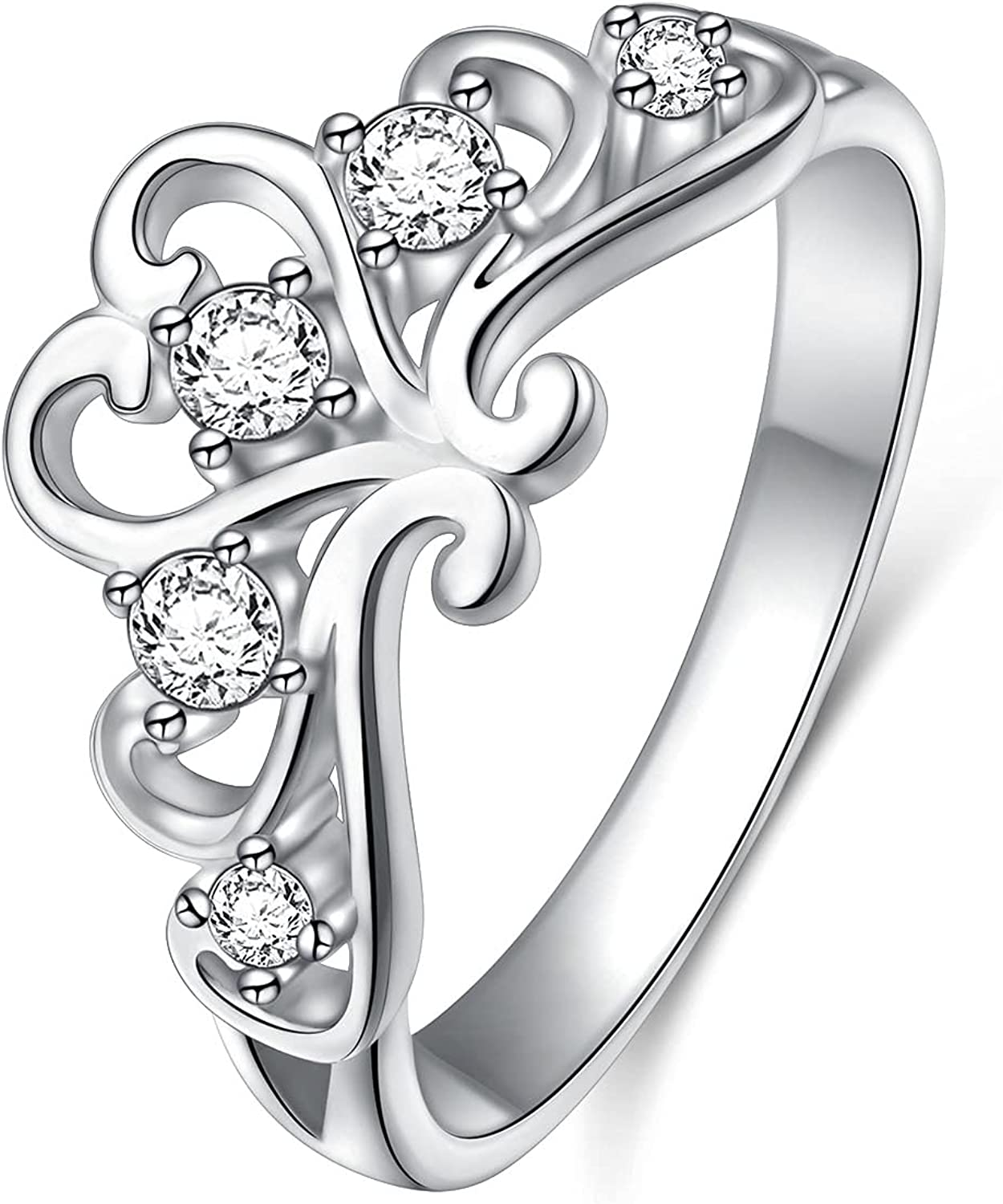 At the price of surprise 925 Sterling Silver Cubic Zirconia fo Princess Crown Tiara Rings Credence
