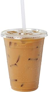 Clear Plastic Cups With Flat Slotted Lids for Iced Cold Drinks 16oz, Disposable, Medium Size [100 Pack]