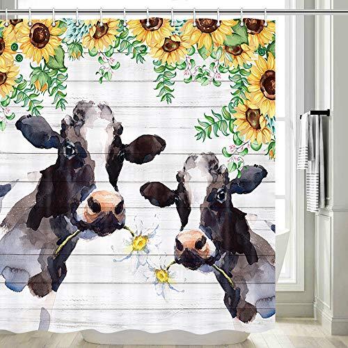 DYNH Duschvorhang, Kuh, gelbe Sonnenblume mit Bauernhof, Kuh auf rustikalem Sonnenblumen-Duschvorhang, Sonnenblume mit Kuh, Bauernhof-Stil, Duschvorhang-Sets, Haken inklusive, 177,8 cm