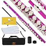 Glory Closed Hole Flute with Case, Adjusting Rod and Cloth, Grease for Gaskets and Gloves - Pink Color