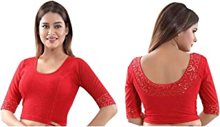 Red Ready to wear Stretchable Lycra Saree Blouse Sari Choli Crop Top M Size 36 to 40 Inches 196