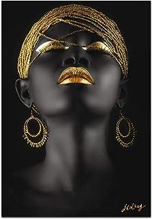 Wall Art African American Art Wall Decor Canvas Wall Art Original Designed Pop Gold earrings necklace Black Pretty girl St...