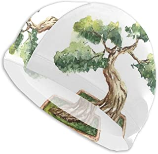 GUUi Swimming Cap Elastic Swimming Hat Diving Caps,Retro Halftone Style Backdrop with Player Figure Snowflakes and Cityscape Silhouette,For Men Women Youths