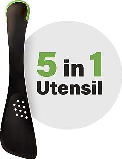 تجوال الطبخ مطبخ Utensil 5 في 1 متعدد الوظائف غير لاصقة، دوارة، مصفاة، ملعقة حساء، ملعقة مسطحة، خضراء