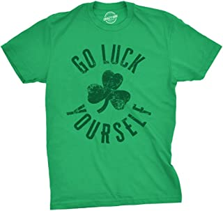 Crazy Dog T-Shirts Mens Go Luck Yourself Tshirt Funny Irish Pun Shamrock Tee for Guys