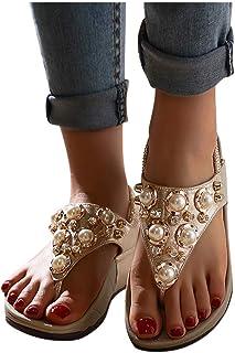MITCOWBOYS Rhinestone Sandals for Women Thong Sandal T-Strap Elastic Band Beach Flip Flops Wedge Shoes