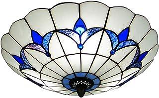 XMYX Lámpara de Techo Estilo Tiffany Plafón con Montura Empotrada Lámpara de Pantalla de Vidrio Mediterráneo Luz de Techo con Montura Semiempotrada use Bombillas E27 Azul y blanco,Ø30cm