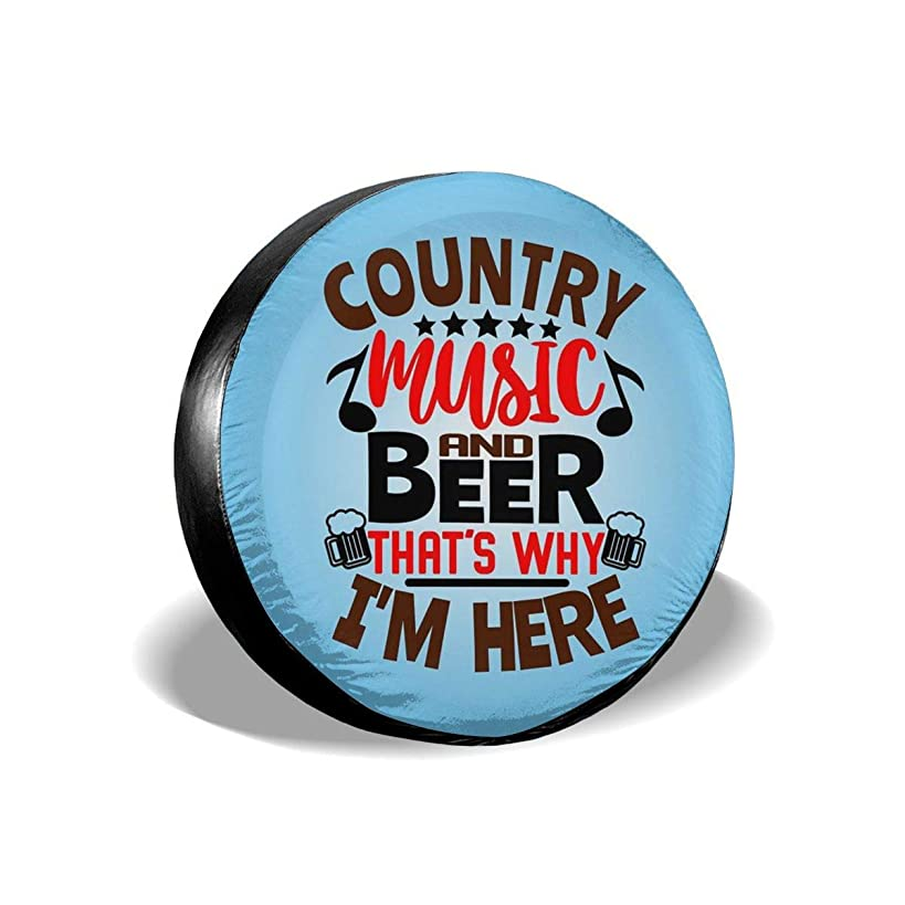 FACINGGOGO Country Music and Beer Thats Why Im Here Tire Covers Personalized Spare Wheel Cover for Jeep RV Camper Trailer