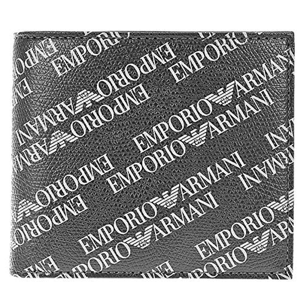 活性化する洪水皮肉EMPORIO ARMANI(エンポリオアルマーニ) 折財布 二つ折り財布 メンズ財布 イーグルマーク ロゴ Y4R167 YLO7E 86526 ブラック グレー [並行輸入品]
