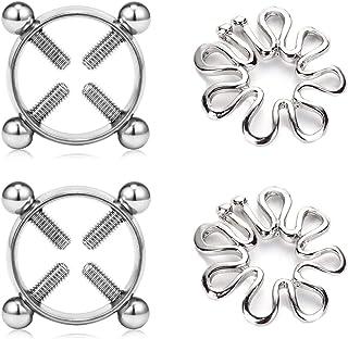 MODRSA 2 Pairs Multi-Functional Adjustable Surgical Steel Rings Screw Clip on Body Piercing Circle