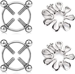 MODRSA 2 Pairs Fake Nipple Multi-Functional Adjustable Surgical Steel Face Rings Screw Clip on Body Piercing Circle Ring Non Piercing