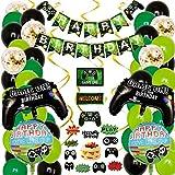 Lot de 58 accessoires de fête pour jeux vidéo, anniversaire de jeu vidéo, ballons de fête de bienvenue à suspendre sur le thème des tourbillons pour gâteaux et gâteaux