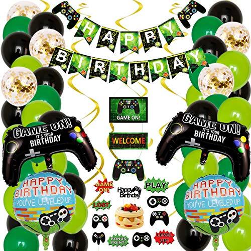 58 piezas de suministros para fiestas de videojuegos, globos para fiestas de bienvenida, decoración colgante para fiestas de cumpleaños infantiles