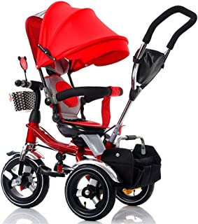 QIANDING SANLUNCHE Tricycle Children's Pedal Folding Learning Balance Car Children with Parents Handle Smart Seat Belt Baby Stroller Comfortable Seat 105x93x60cm Trolley
