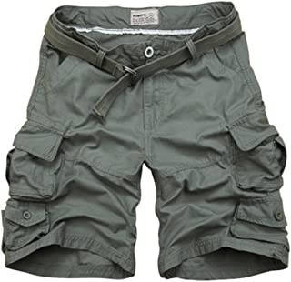 Men's Cargo Army Fat Summer Casual Trail Work Baggy Big and Tall Outdoor Chino Combat Camo Shorts (with Belt)