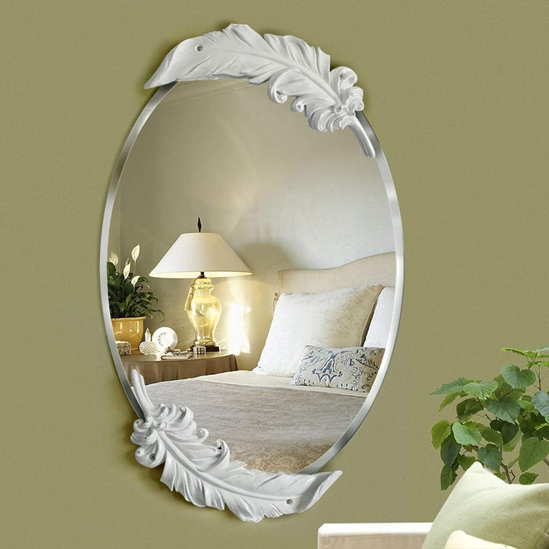 CKH European Bathroom Mirror Bathroom Mirror Waterproof Bathroom Fashion Feather Wash Wall Mirror Vanity Mirror White